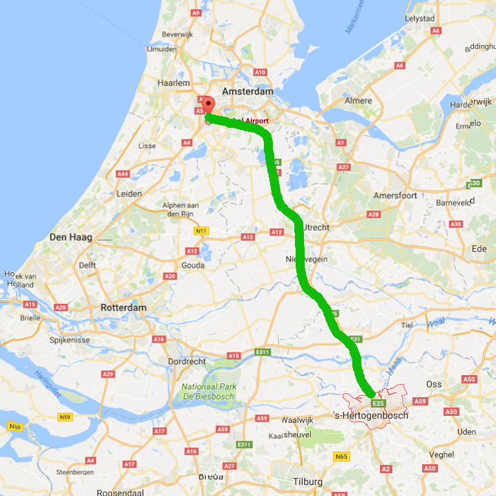 Taxiservice van Schiphol naar Den Bosch